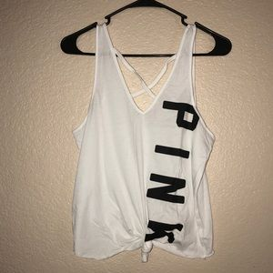 Pink white tank top size s